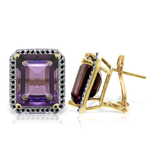 Amethyst Stud French Clip Halo Earrings 11.6 ctw in 9ct Gold