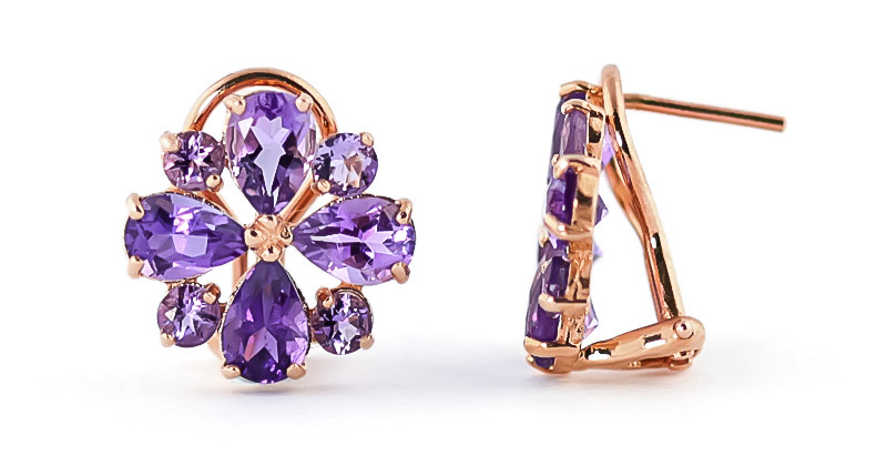 Amethyst Sunflower Stud Earrings 4.85 ctw in 9ct Rose Gold