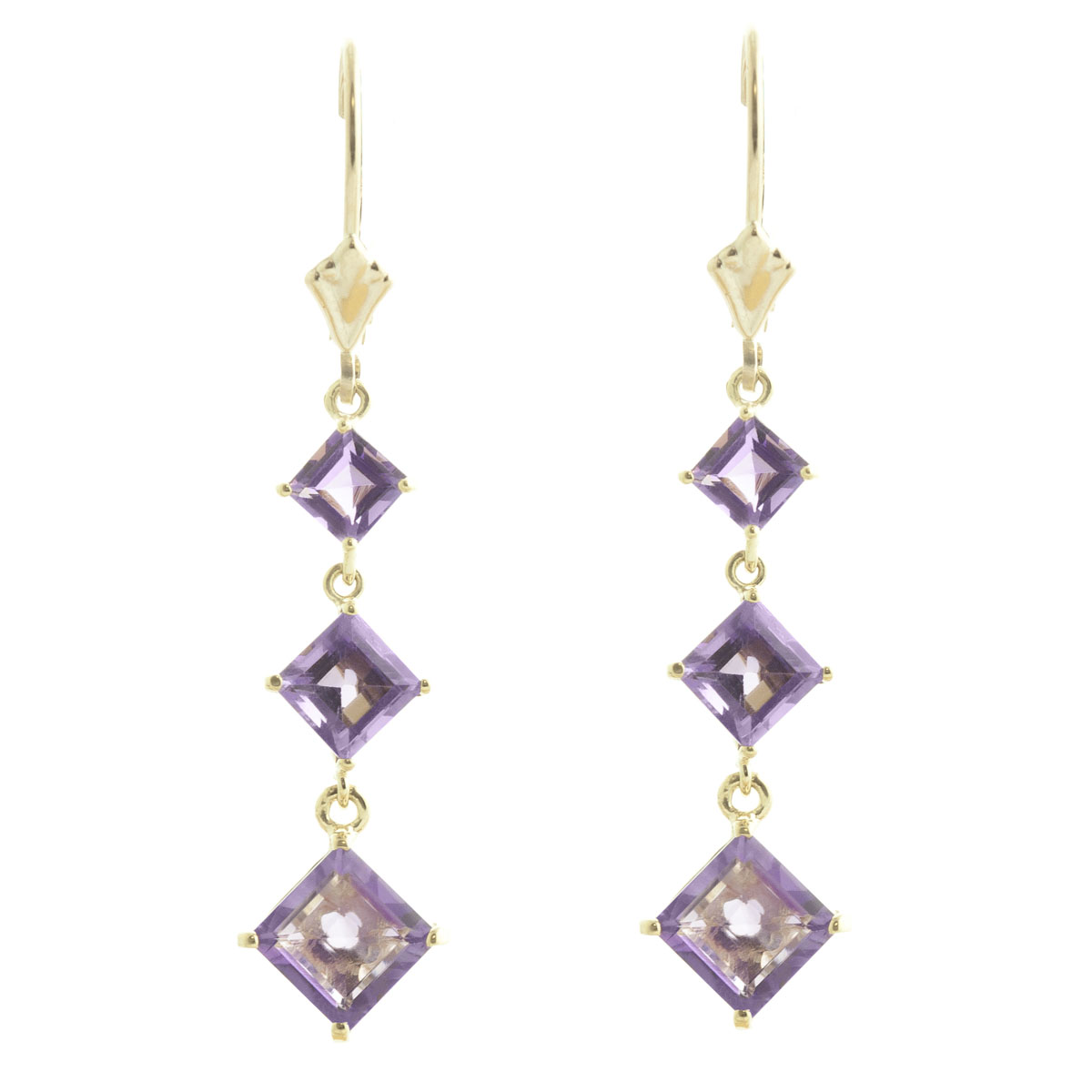 Amethyst Three Stone Drop Earrings 4.79 ctw in 9ct Gold
