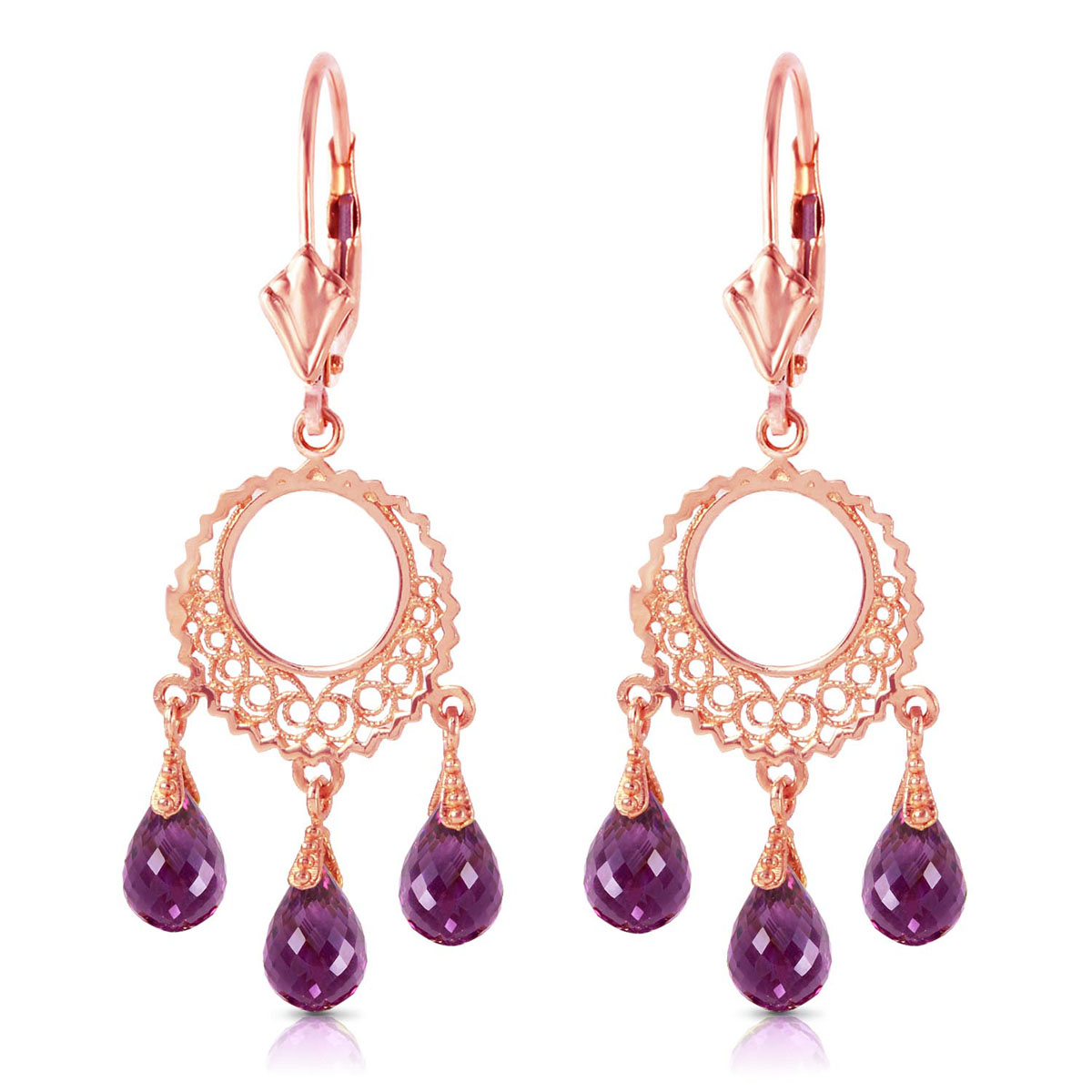 Amethyst Trilogy Drop Earrings 3.75 ctw in 9ct Rose Gold