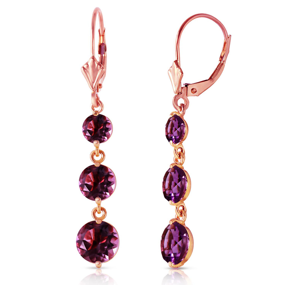Amethyst Trinity Drop Earrings 7.2 ctw in 9ct Rose Gold