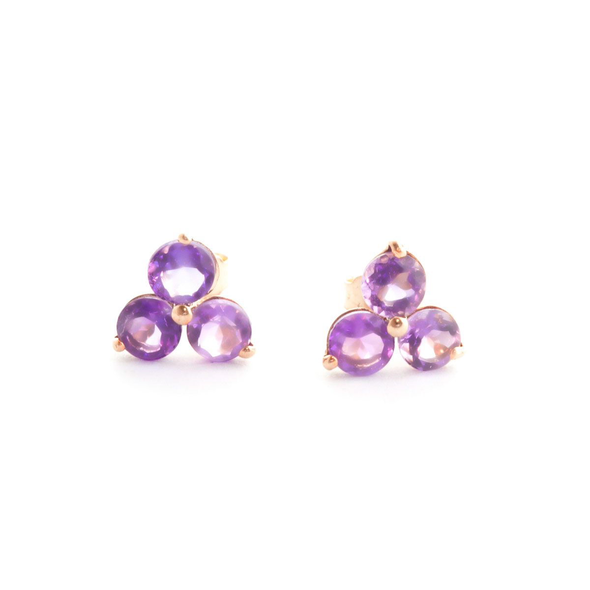 Amethyst Trinity Stud Earrings 1.5 ctw in 9ct Rose Gold