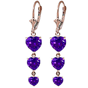 Amethyst Triple Heart Drop Earrings 6 ctw in 9ct Rose Gold