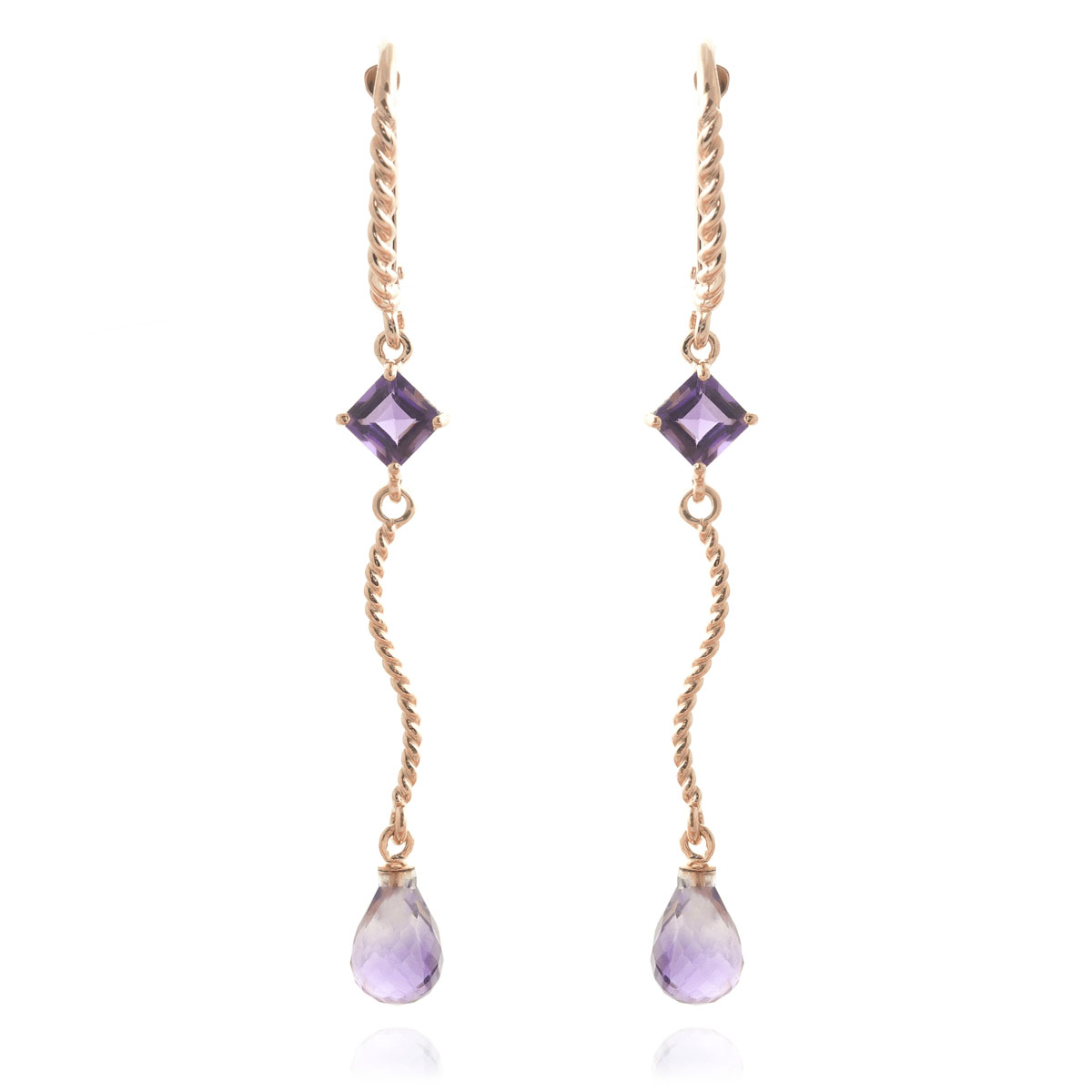 Amethyst Twist Drop Earrings 3.5 ctw in 9ct Rose Gold
