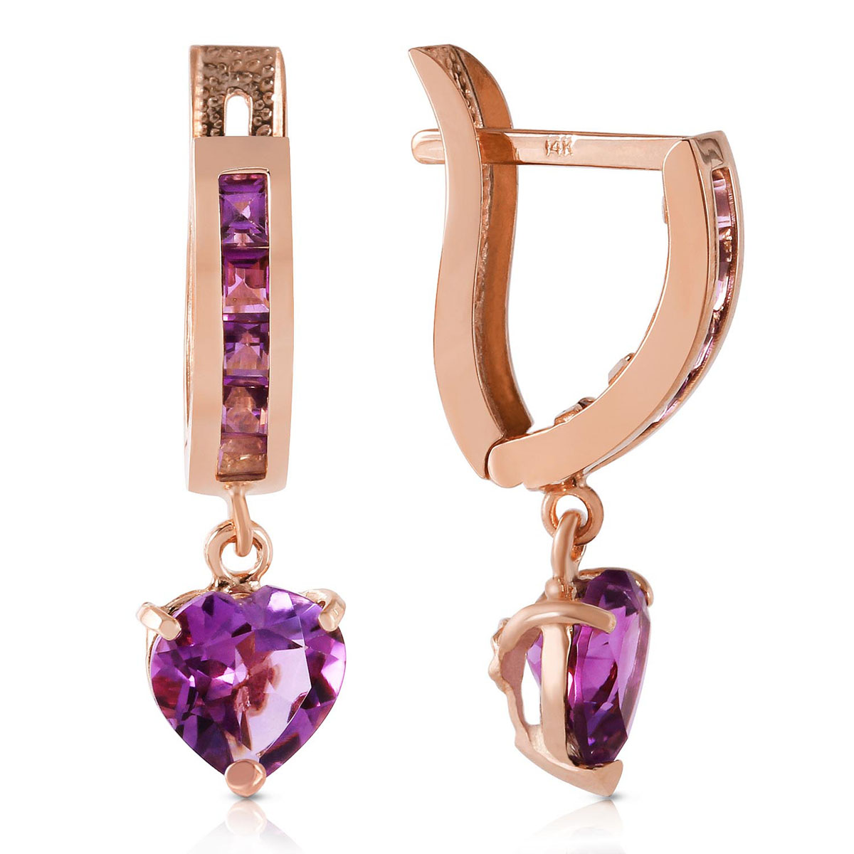 Amethyst V-Shape Hoop Earrings 0.85 ctw in 9ct Rose Gold