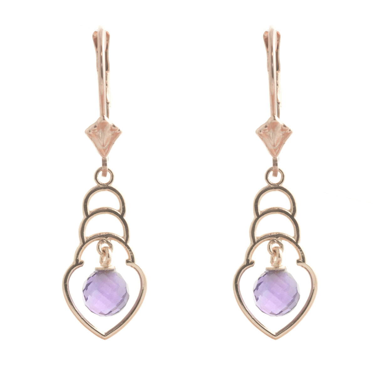 Amethyst Wireframe Drop Earrings 1.25 ctw in 9ct Rose Gold