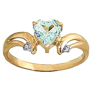 Aquamarine & Diamond Affection Heart Ring in 9ct Gold