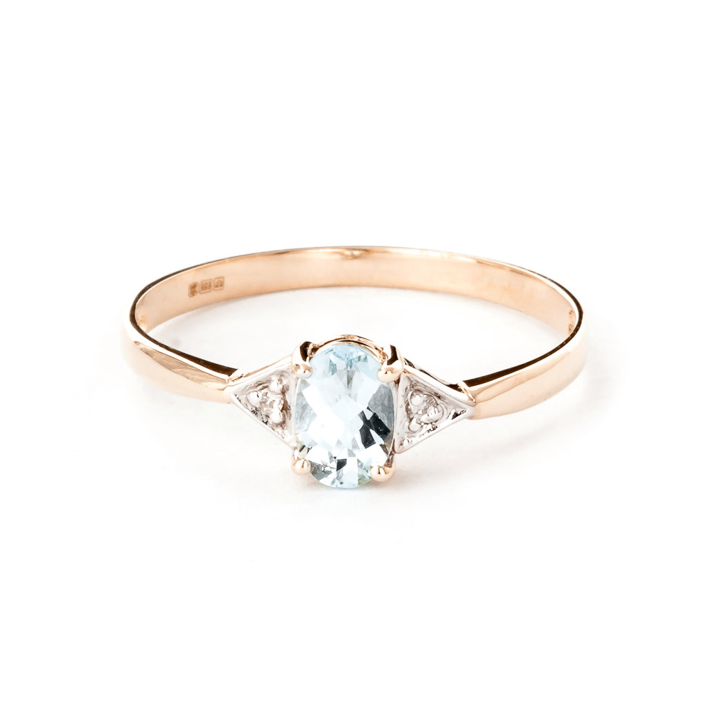 Aquamarine & Diamond Allure Ring in 18ct Rose Gold