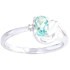 Aquamarine & Diamond Angel Ring in 9ct White Gold