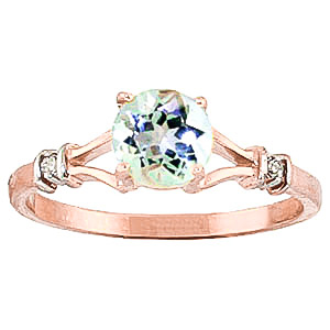 Aquamarine & Diamond Aspire Ring in 9ct Rose Gold