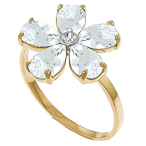 Aquamarine & Diamond Five Petal Ring in 9ct Gold