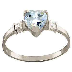 Aquamarine & Diamond Heart Ring in Sterling Silver