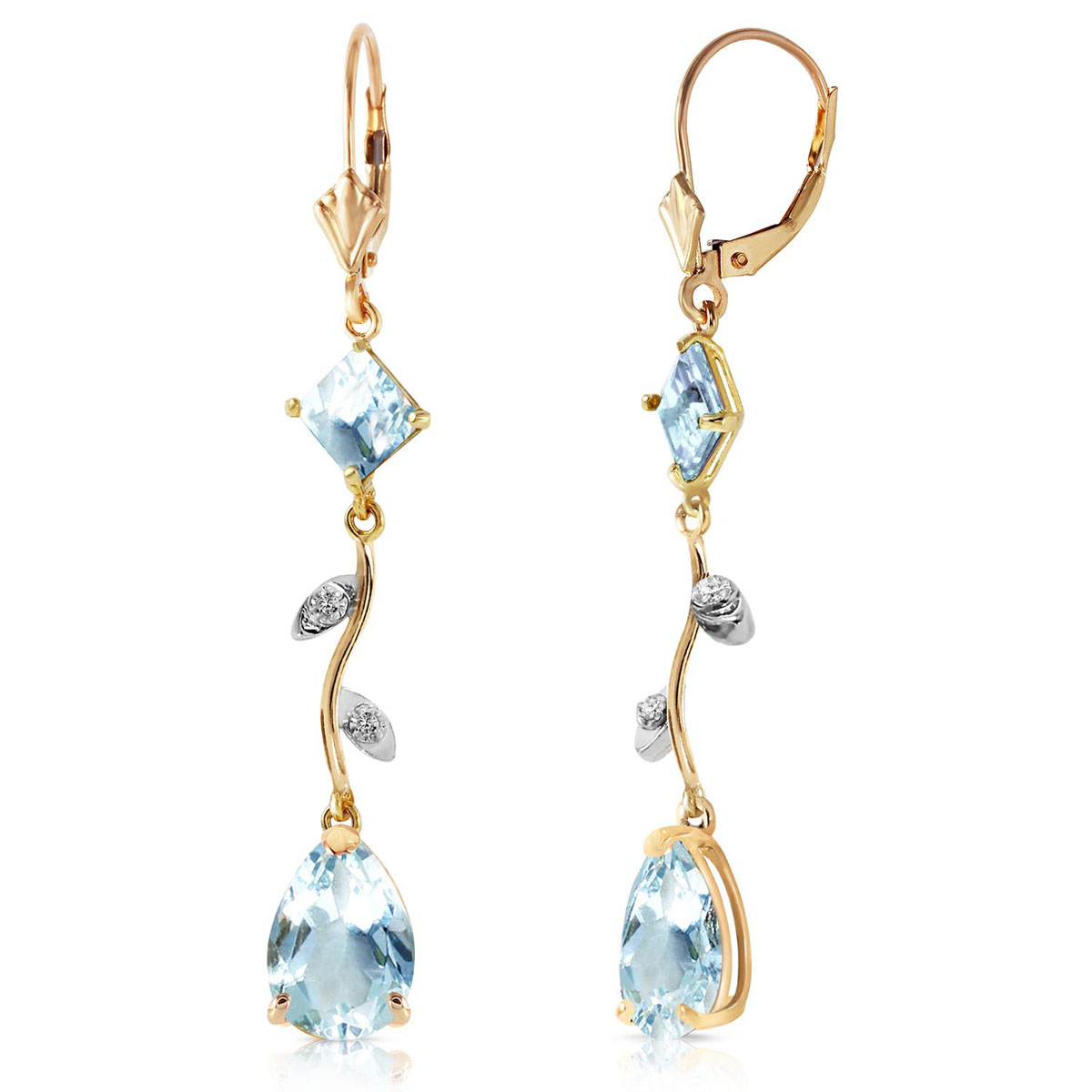 Aquamarine & Diamond Vine Branch Drop Earrings in 9ct Gold