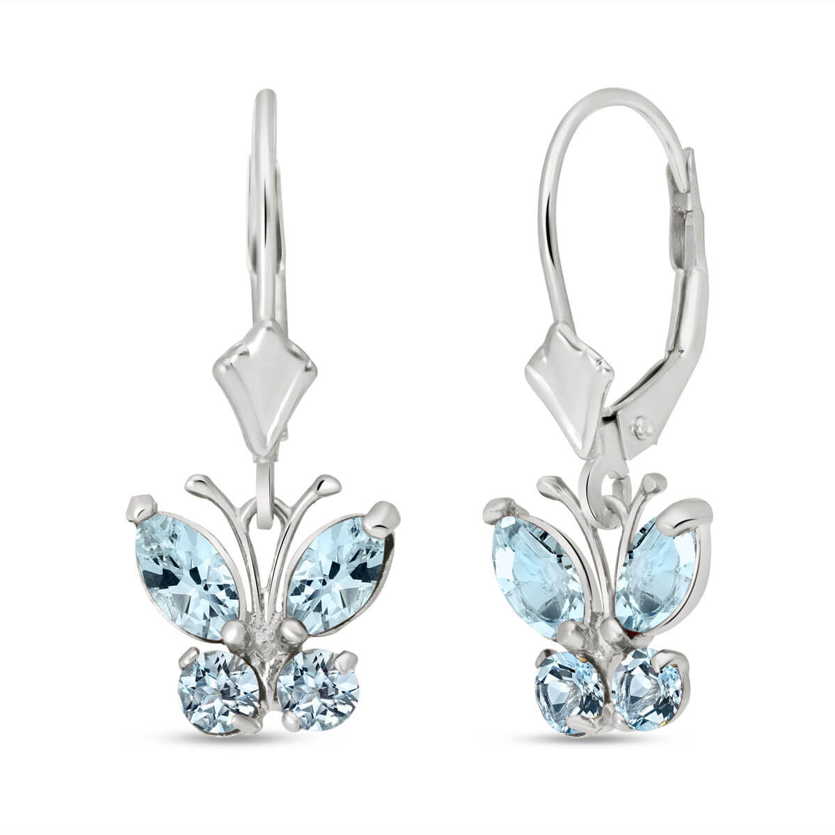 Aquamarine Butterfly Drop Earrings 1.24 ctw in 9ct White Gold