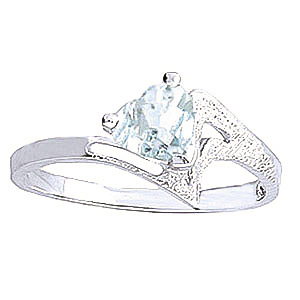 Aquamarine Devotion Ring 0.95 ct in 18ct White Gold