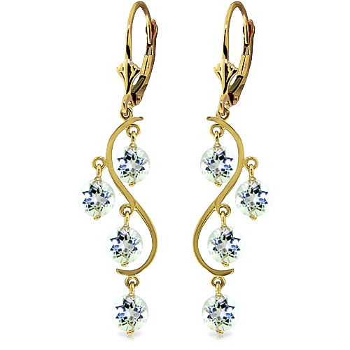 Aquamarine Dream Catcher Drop Earrings 4.5 ctw in 9ct Gold