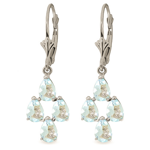 Aquamarine Drop Earrings 3.9 ctw in 9ct White Gold
