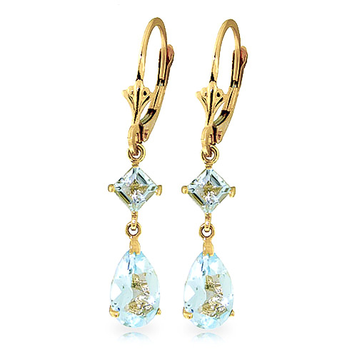 Aquamarine Droplet Earrings 4.5 ctw in 9ct Gold