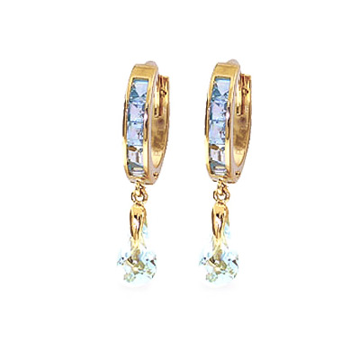 Aquamarine Droplet Huggie Earrings 2.95 ctw in 9ct Gold