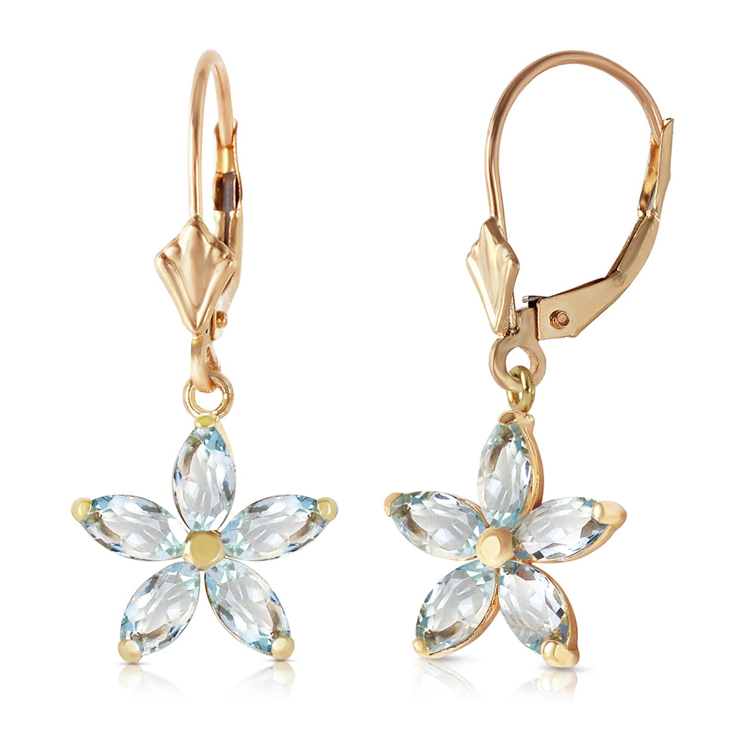 Aquamarine Flower Star Drop Earrings 2.8 ctw in 9ct Gold
