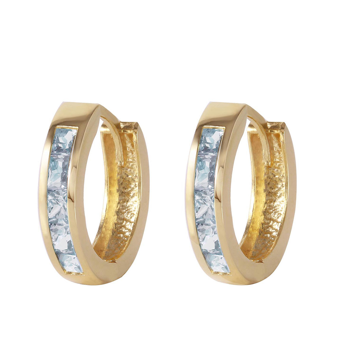 Aquamarine Huggie Earrings 0.85 ctw in 9ct Gold