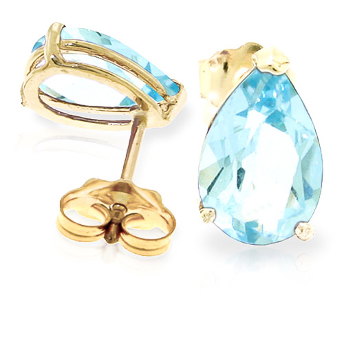 Aquamarine Stud Earrings 3.15 ctw in 9ct Gold