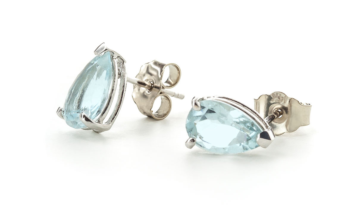 Aquamarine Stud Earrings 3.15 ctw in 9ct White Gold
