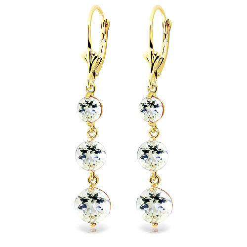 Aquamarine Trinity Drop Earrings 7.2 ctw in 9ct Gold