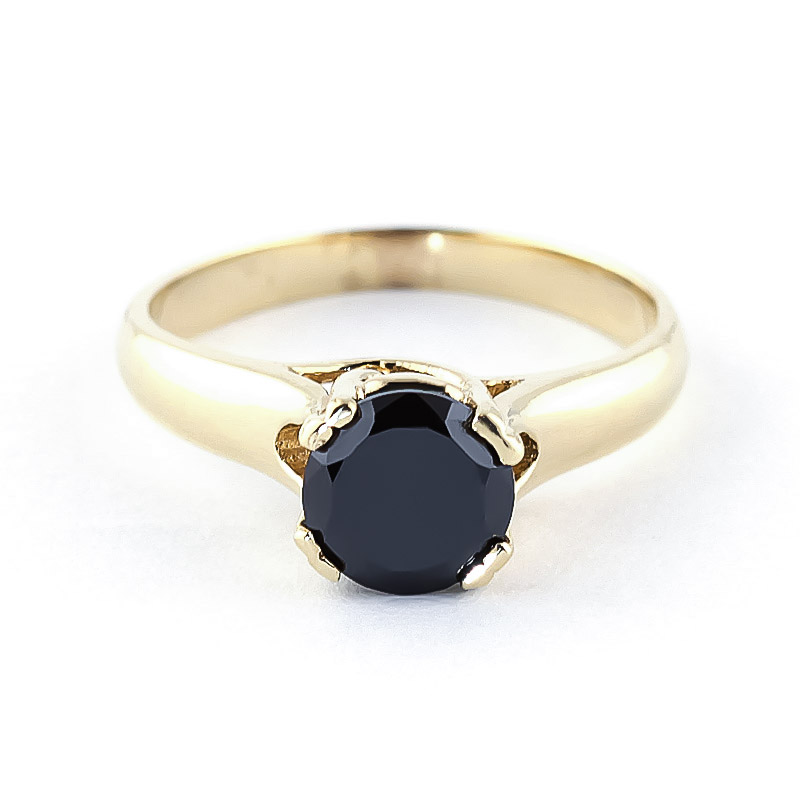 Black Diamond Solitaire Ring in 18ct Gold
