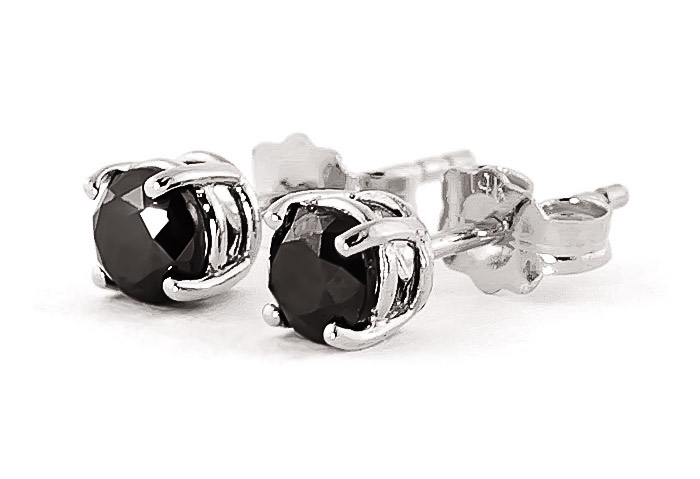Black Diamond Stud Earrings 1 ctw in 9ct White Gold