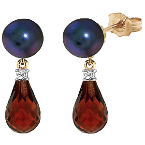 Black Pearl, Diamond & Garnet Stud Earrings in 9ct Gold