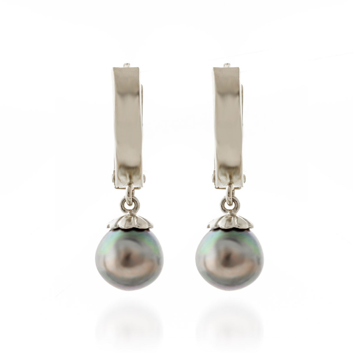 Black Pearl Drop Earrings 4 ctw in 9ct White Gold