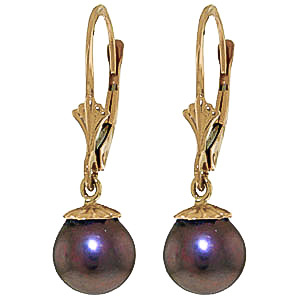 Black Pearl Snowcap Drop Earrings 4 ctw in 9ct Gold