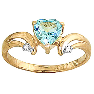 Blue Topaz & Diamond Affection Heart Ring in 18ct Gold