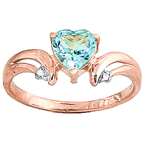 Blue Topaz & Diamond Affection Heart Ring in 9ct Rose Gold