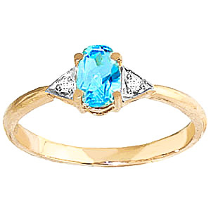 Blue Topaz & Diamond Allure Ring in 9ct Gold