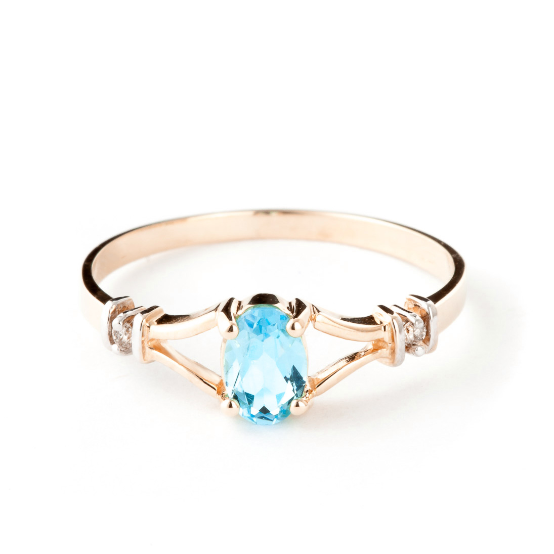 Blue Topaz & Diamond Aspire Ring in 9ct Rose Gold