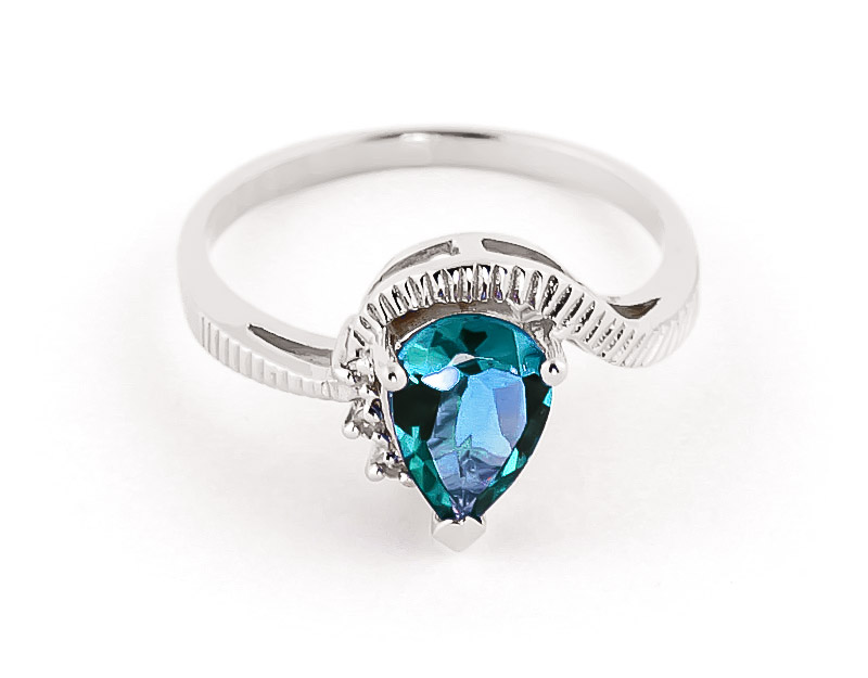 Blue Topaz & Diamond Belle Ring in 18ct White Gold
