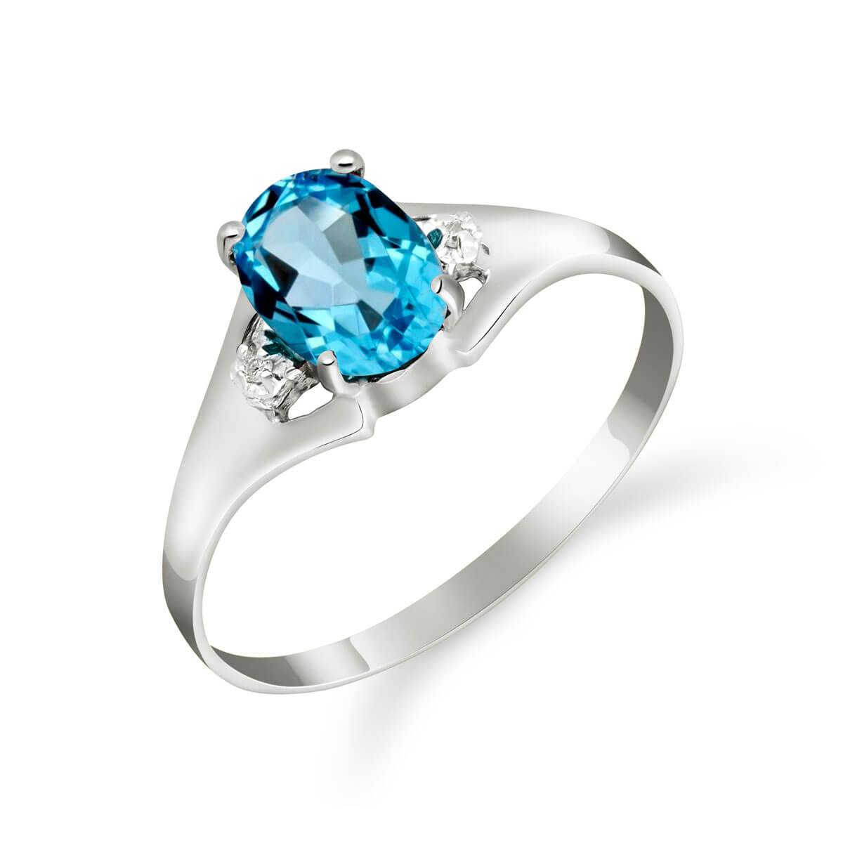 Blue Topaz & Diamond Desire Ring in 9ct White Gold