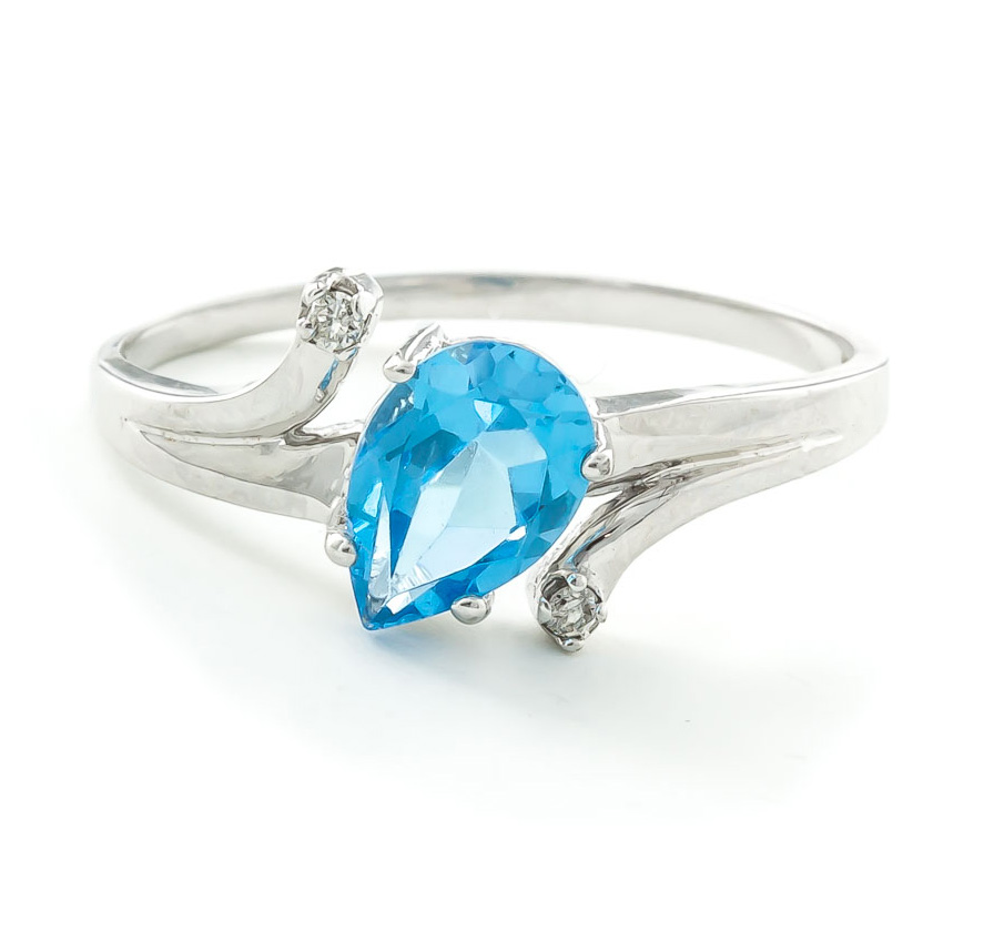 Blue Topaz & Diamond Flank Ring in 18ct White Gold