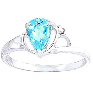 Blue Topaz & Diamond Glow Ring in 9ct White Gold