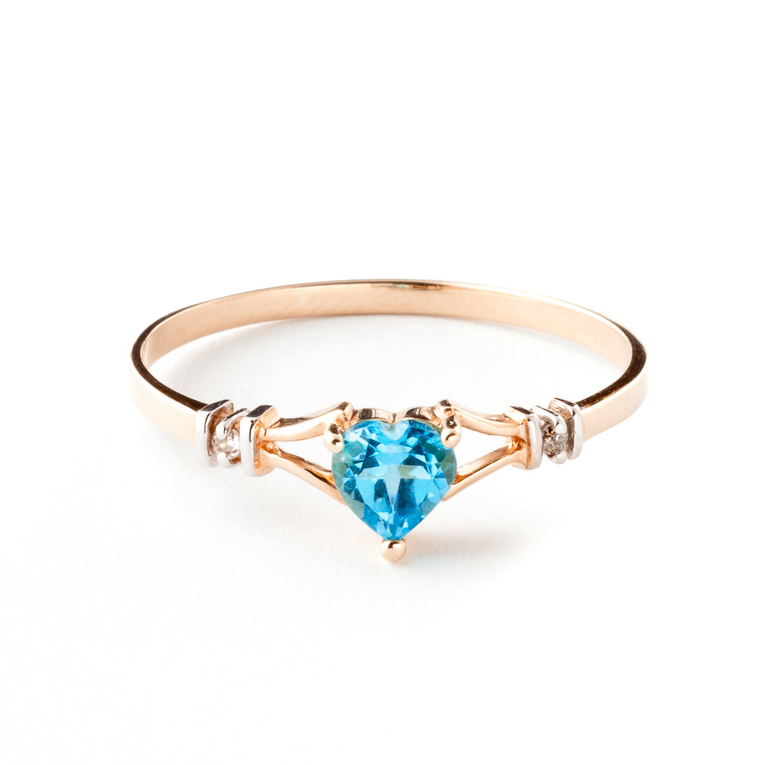 Blue Topaz & Diamond Heart Ring in 18ct Rose Gold