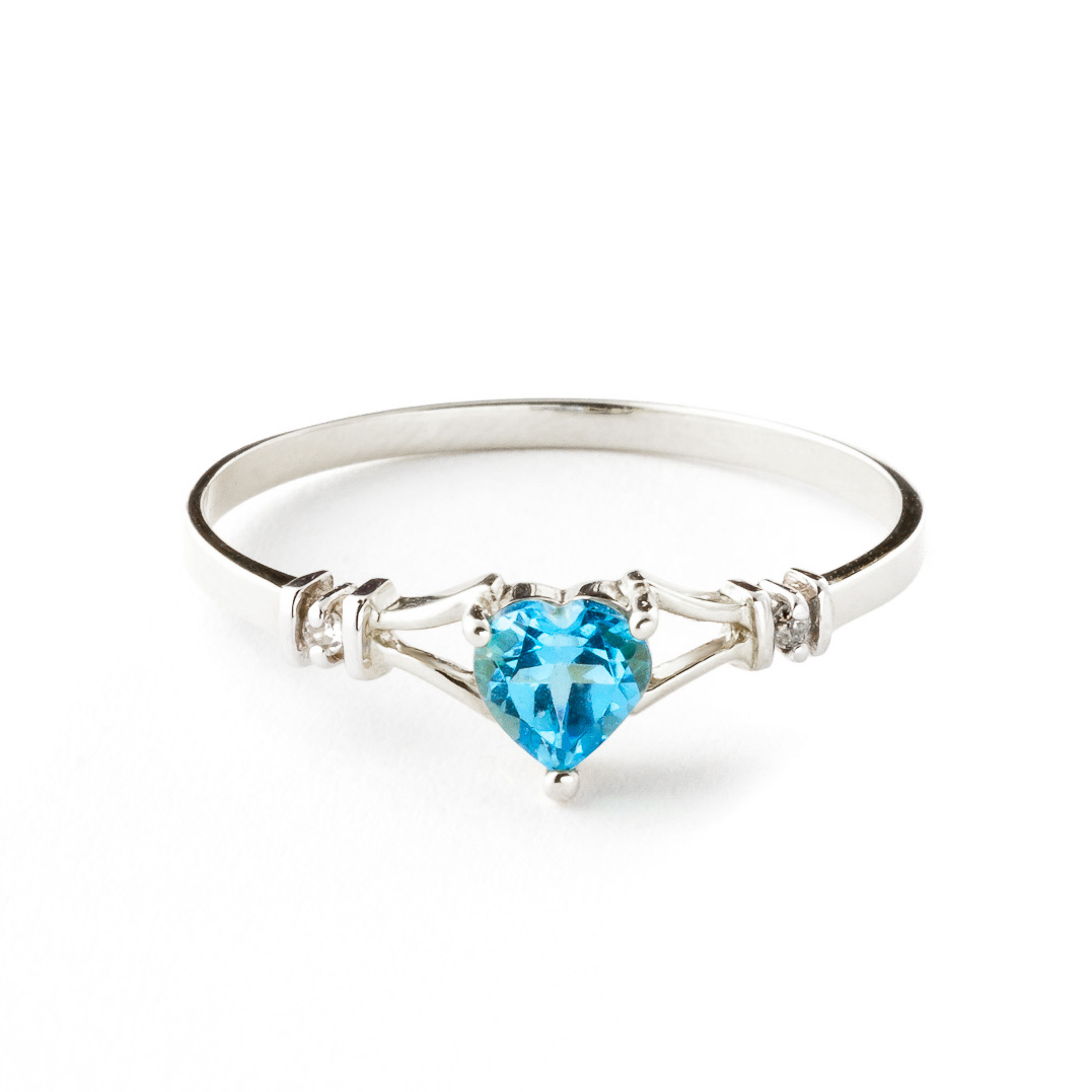 Blue Topaz & Diamond Heart Ring in 9ct White Gold