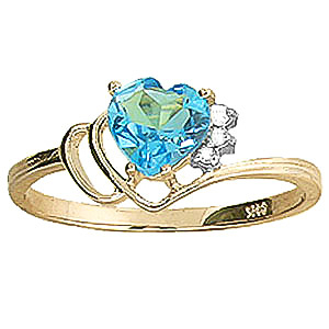 Blue Topaz & Diamond Passion Ring in 9ct Gold