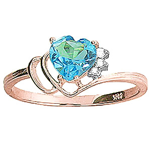 Blue Topaz & Diamond Passion Ring in 9ct Rose Gold