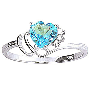 Blue Topaz & Diamond Passion Ring in 9ct White Gold