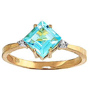 Blue Topaz & Diamond Princess Ring in 9ct Gold