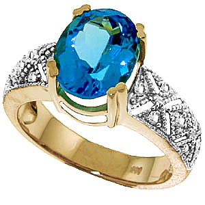 Blue Topaz & Diamond Renaissance Ring in 9ct Gold