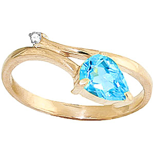 Blue Topaz & Diamond Top & Tail Ring in 9ct Gold