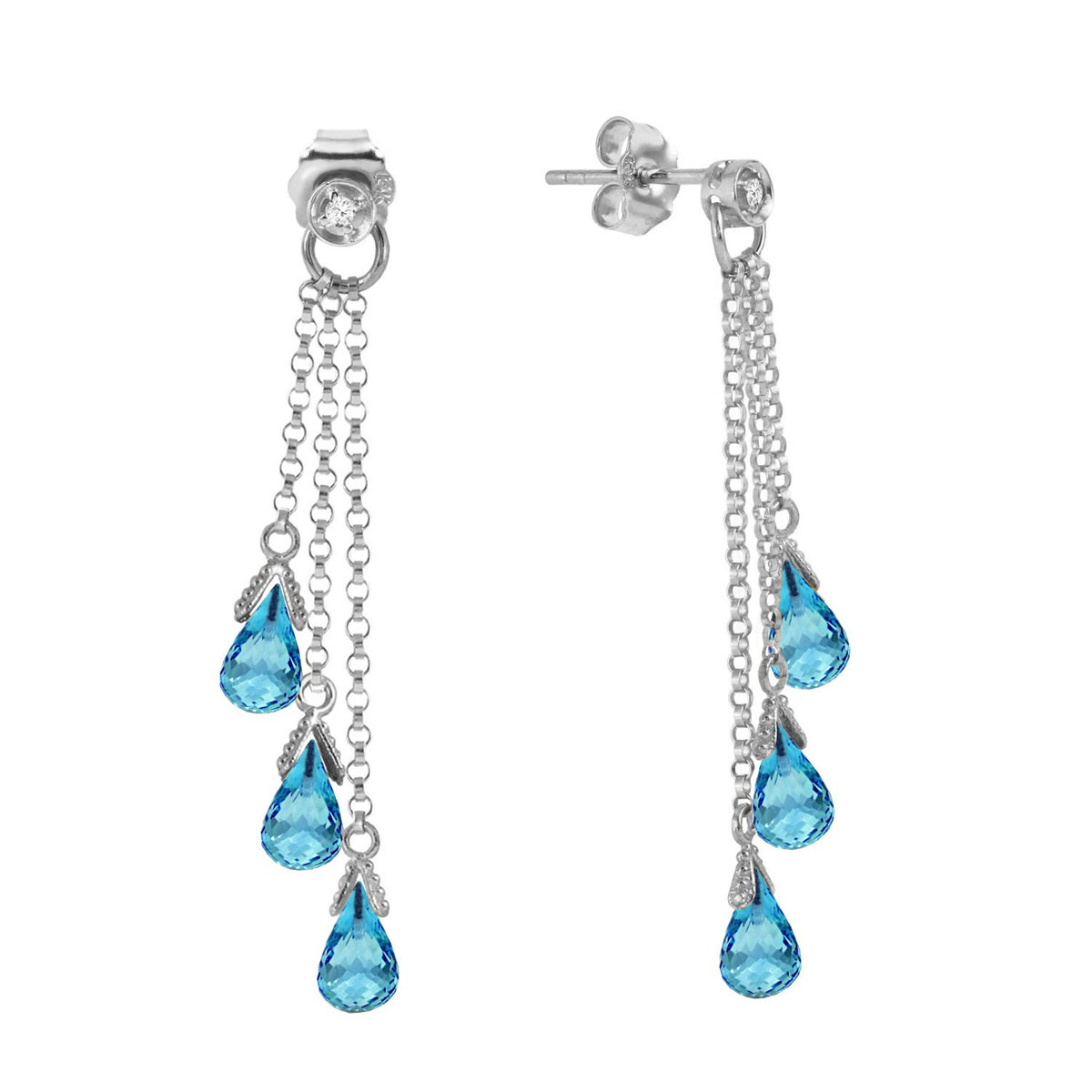 Blue Topaz & Diamond Trilogy Droplet Earrings in 9ct White Gold